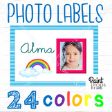 24 Editabe Name Labels with Different Color Photo Frames - Rainbow {DECOR}