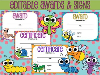 24 Editable AWARDS and SIGNS : Cute Bugs, Garden Insects
