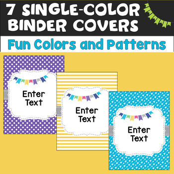 24 Editable Binder Covers in Fun Colors & Patterns