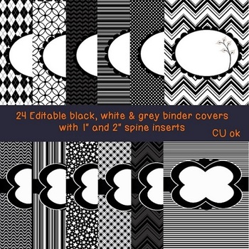 binder labels editable black and white teaching resources teachers