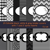 24 Editable Black and White Binder Covers 2 (with 1 and 2