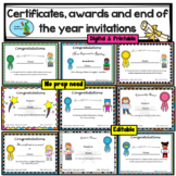 End of the Year Awards, Certificates, Invitations. Editable/Bilingual
