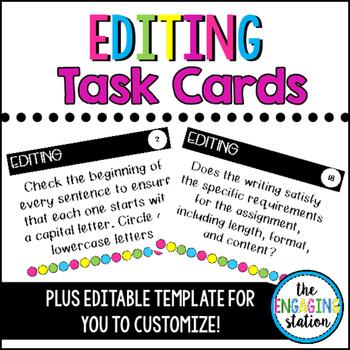 24 Editable Editing Task Cards