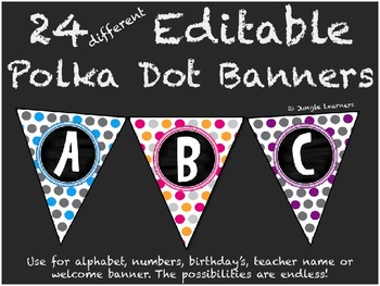 editable polka dot banners 24 options by jungle learners tpt