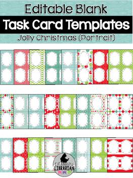 24 Editable Task Card Templates Jolly Christmas (Portrait) PowerPoint