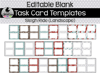 24 Editable Task Card Templates Sleigh Ride (Landscape) PowerPoint