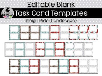 24 Editable Task Card Templates Sleigh Ride (Landscape) Po
