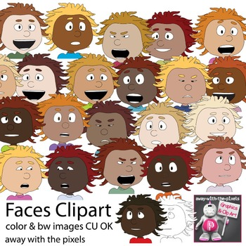 24 Faces Clipart - People Clip art - Inc Blackline