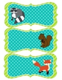 Forest Animal Name Tags - Teal and Lime
