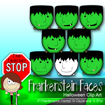 24 Frankenstein Faces - Spooky Fun Halloween Clipart {The