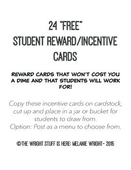 24 Free Student Reward/Incentive Cards