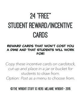 24 Free Student Reward/Incentive Cards