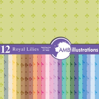 Digital Papers - French royal lilies digital paper, AMB-420