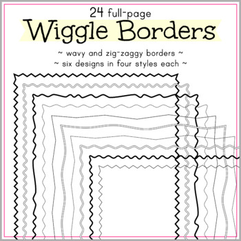 24 Full Page Wavy and Zig-Zag Borders. PNG files. High-resolution.