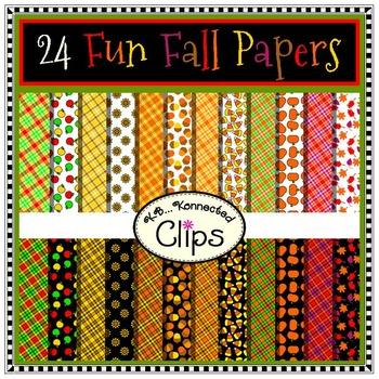 24 Fun Fall Papers - Clip Art