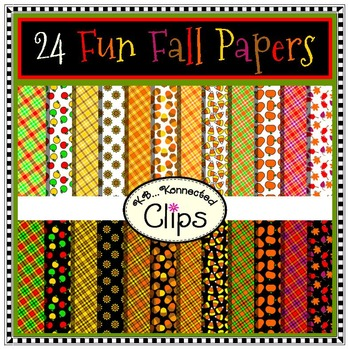 24 Fun Fall Papers - Clip Art