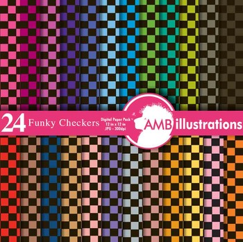 Digital Papers - Checkered digital paper and backgrounds, AMB-413