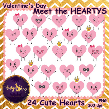 2$ Deal 24 Funny and Cute Pink Hearts Clip art (Commercial Use)