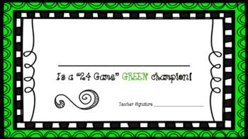 24 Card Game Tournament Award Certificate FREEBIE