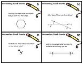 24 Geometry Task Cards-Line Segments,Rays,Parallel Lines,Polygons,etc.