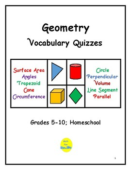 24 Geometry Vocabulary Quizzes