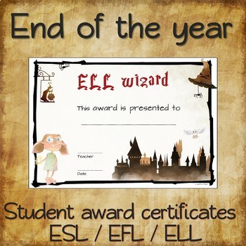 AWARD CERTIFICATES for Harry Potter fans - ESL EFL ELL