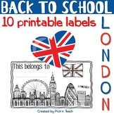 "June 12 - 10 printable labels ""London"" - BACK TO SCHOOL"