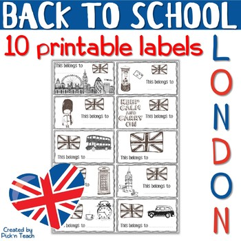 "10 printable labels ""London"" - BACK TO SCHOOL"