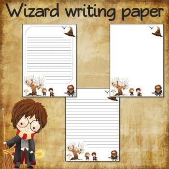 Writing paper for Harry Potter fans - 3 sheets - White background