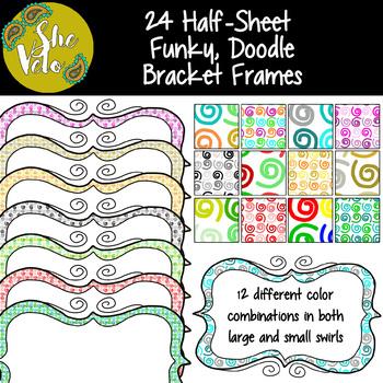 24 Half-Sheet Bracket Frames - Funky Doodle Designs - 12 Color ...