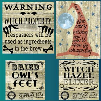24 Halloween Chalkboard and Barn Board Signs
