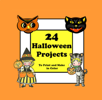 24 Halloween Paper Projects to Print in Color. Vintage Halloween Crafts.