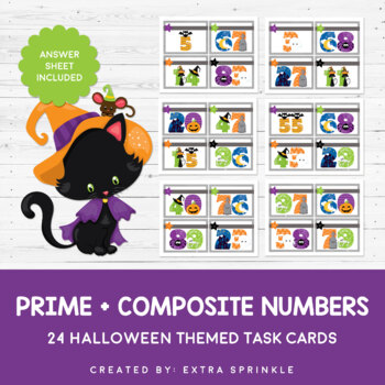 Halloween Prime + Composite Numbers Task Cards