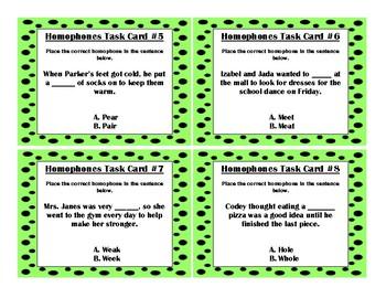 24 Homophone Task Card