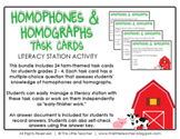 24 Homophones & Homographs Task Cards for Grades 2, 3, 4 {