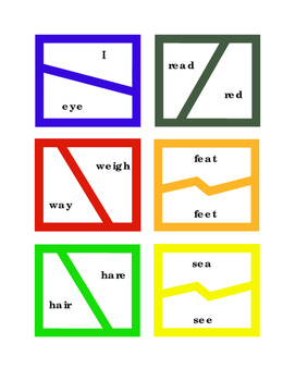24 Homophones Puzzles Game ELA Reading Spelling Homophones English Printable 4pg