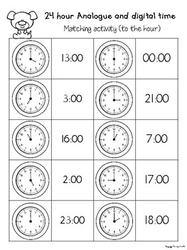 24 Hour Analogue Digital Clock Time Matching