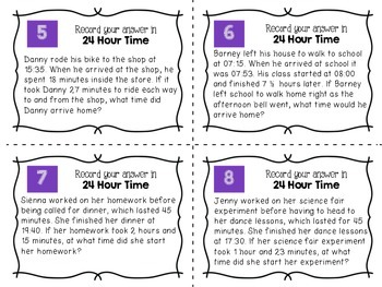 24 Hour Time Multi-Step Word Problem Task Cards