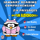January Reading Comprehension - 24 Funny Passages - AUDIOBOOKS + Sounds