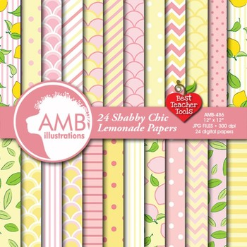 Lemonade Digital Papers, Pink and Lemon Backgrounds, Lemonade Stand AMB-486