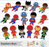 24 Little Boy Superhero Clip Art, African American Boy Superhero Clipart 0205