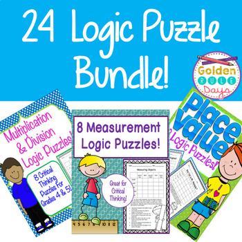 24 Logic Puzzles Bundle! Place Value, Multiplication and Division & Measurement