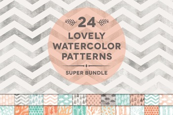 24 Lovely Watercolor Textured Digital Patterns