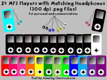 24 MP3 Players with Matching Headphones (Clipart)