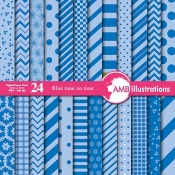 Digital Papers - Mix and Match Blues on blue digital paper, AMB-542