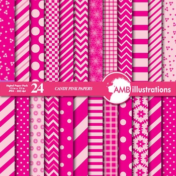 Digital Papers Mix and Match Candy Pink digital paper, chevron paper,  AMB-541