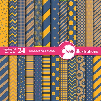 Digital Paper Mix and Match Gold and Navy digital paper, chevron paper  AMB-545