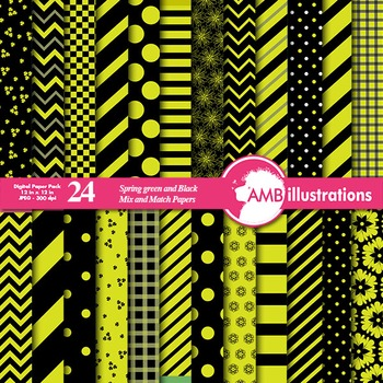 Mix and Match 24 Green and Black papers, chevron paper, stripes, dots  AMB-538