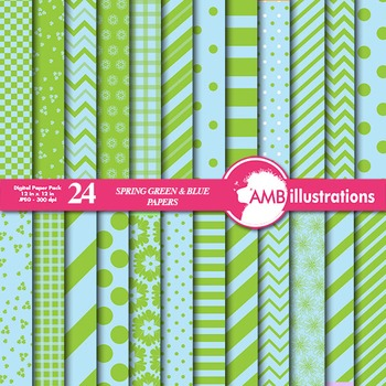 Digital Papers - Mix and Match Green and Blue digital paper, AMB-540