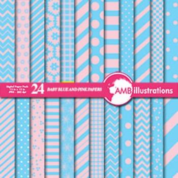 Digital Papers - Mix and Match Pink and blue papers, chevron paper, AMB-539
